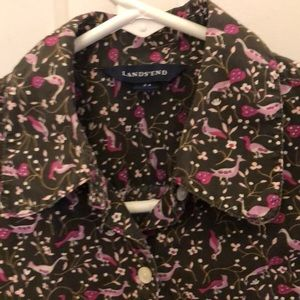 Lands End Bird Printed Blouse